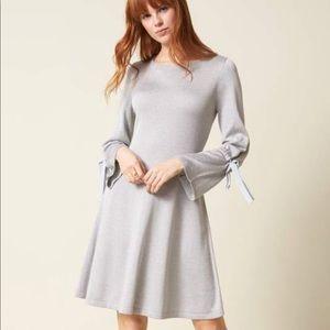 CeCe Bell Sleeve Lovely Blue Sweater Dress